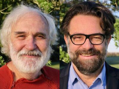 Vincent Magré, maire et Jean-Marie Morel, adjoint à La Haye-Fouassière (44)
